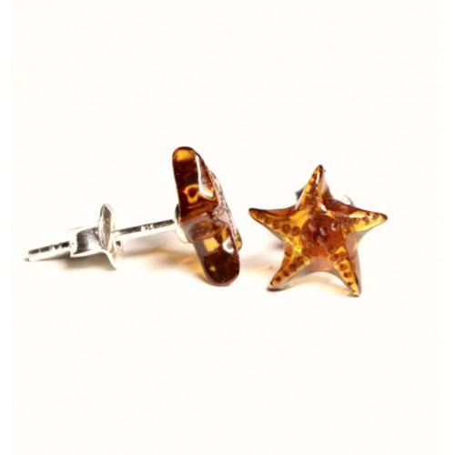 """Konjaka krāsas dzintara auskari ar sudraba 925 nagliņu """"Jūras zvaigzne"""""""