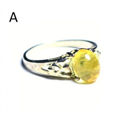 Sudraba krāsas gredzens 18 mm ar dzeltenas krāsas dzintaru