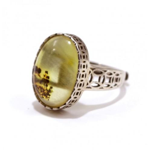 Sudraba 925 gredzens regulējams ar dzeltenas krāsas dzintaru