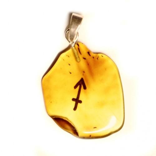 Baltijas dzintara kulons amulets medus krāsā ar zodiaka zīmi Sudrabs 925